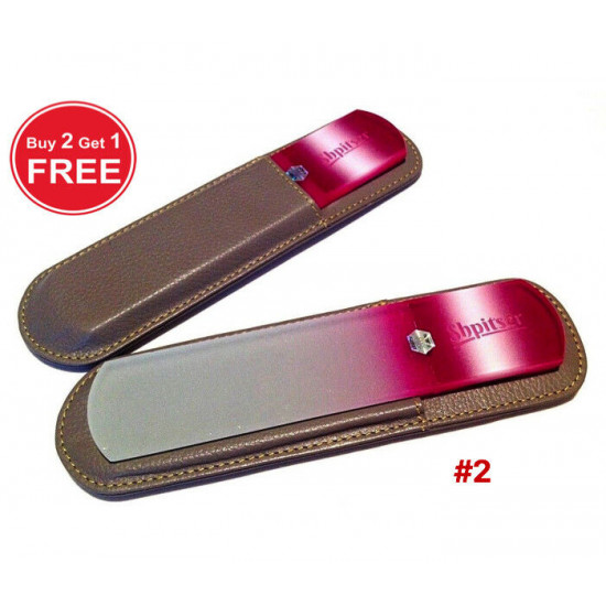 Shpitser Bohemian Crystal Dual Texture Pedicure Bar 6mm thick in high quality leather leather case mid gray purple