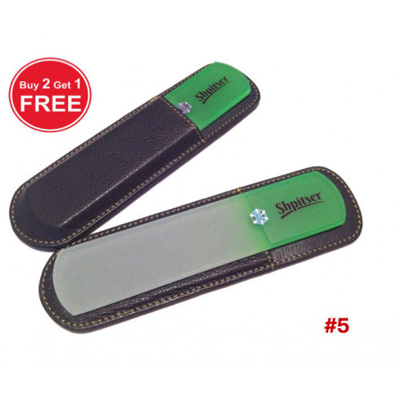Shpitser Bohemian Crystal Dual Texture Pedicure Bar 6mm thick in high quality leather leather case black green