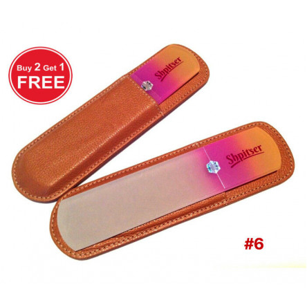Shpitser Bohemian Crystal Dual Texture Pedicure Bar 6mm thick in high quality leather leather case caramel purple
