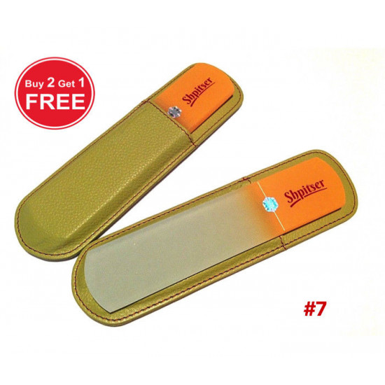 Shpitser Bohemian Crystal Dual Texture Pedicure Bar 6mm thick in high quality leather leather case mid green orange