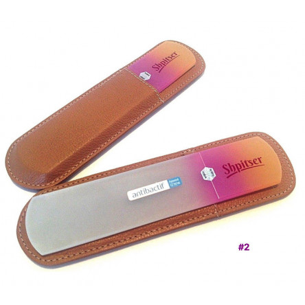Shpitser Bohemian Crystal Dual Texture Pedicure Bar 6mm thick in high quality leather leather case brown