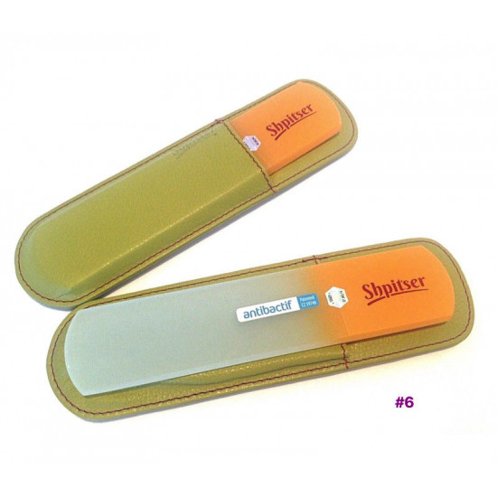 Shpitser Bohemian Crystal Dual Texture Pedicure Bar 6mm thick in high quality leather leather case green orange