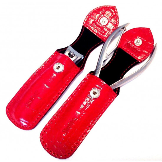 Shpitler 3.5 Inch Red Leather Case For Toenail Clippers or Nippers,