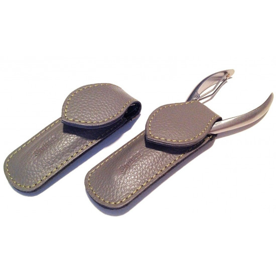 Shpitler Mid Gray Leather Pouch For Toenail Clippers or Nippers 3.5Inch