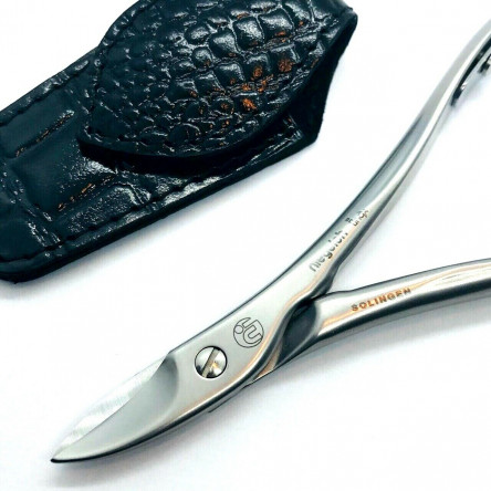 Niegeloh Solingen Toenail Clipper Hand crafted in Germany 11cm with High Quality Black Croco Leather Case