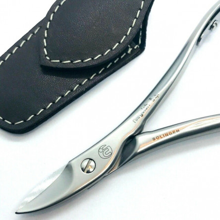 Niegeloh Solingen Toenail Clipper Hand crafted in Germany 11cm with High Quality Dark Brown Leather Case