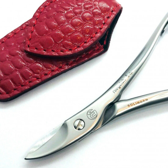 Niegeloh Solingen Toenail Clipper Hand crafted in Germany 11cm with High Quality Red Croco Leather Case